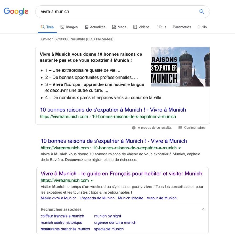 Top Google - Vivre à Munich